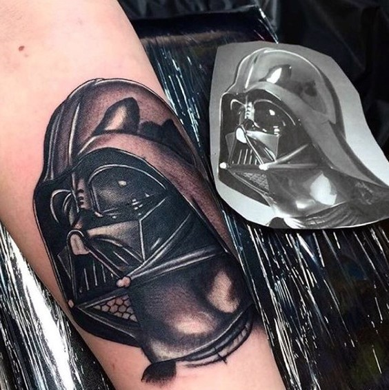Stunning very detailed Darth Vaders helmet tattoo on arm