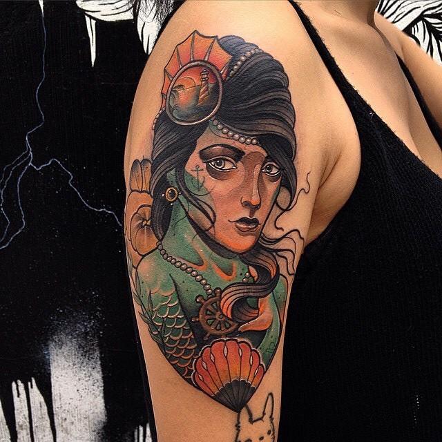Stunning vintage style colored mermaid portrait tattoo on shoulde