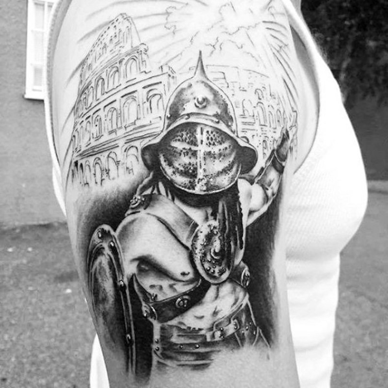 Stylish looking black and white shoulder tattoo of antic gladiator and arena