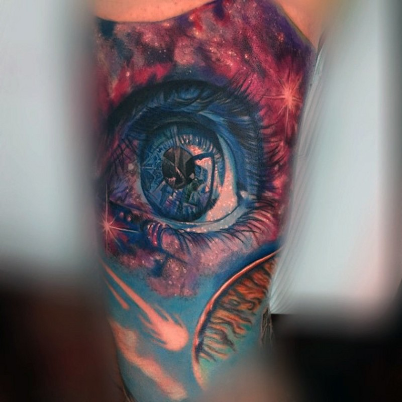 Stylish realistic looking colored eye tattoo on arm