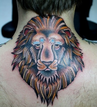 Stylized coloured lion head tattoo on back