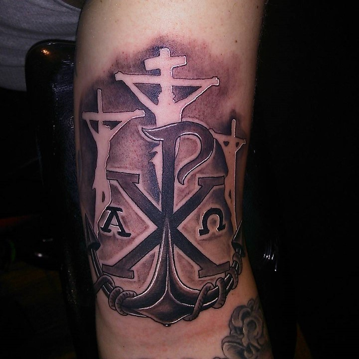 Stylized with crucifix and roped anchor Chi Rho special Christ monogram religious arm tattoo