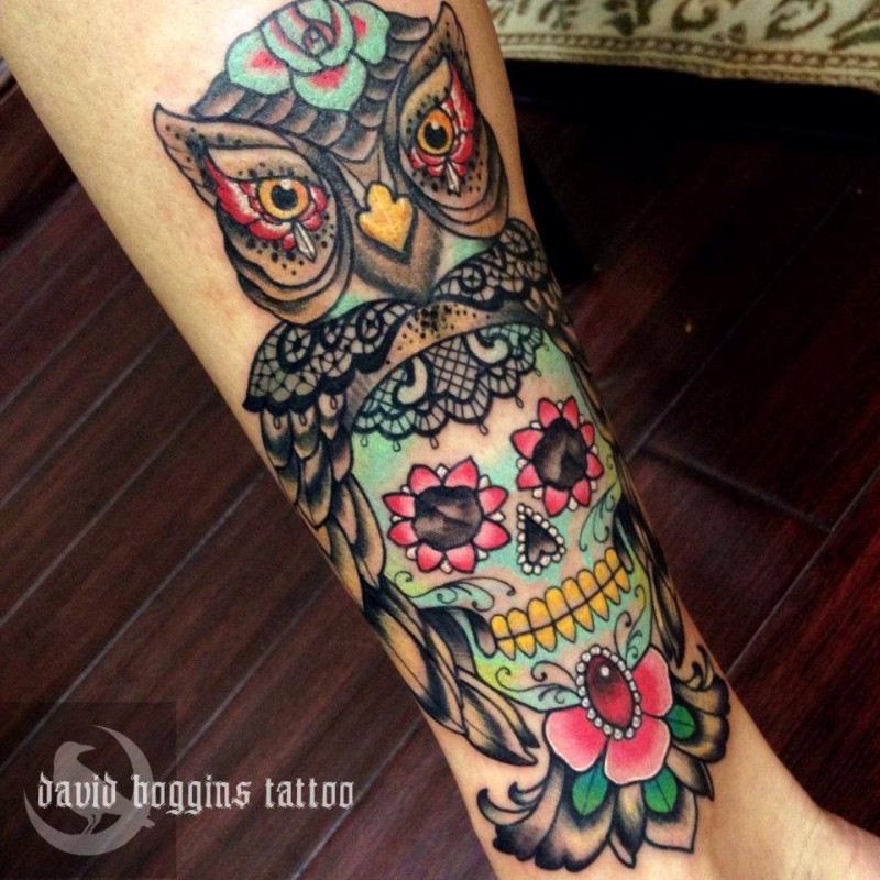 Sugar skull with owl tattoo by David Boggins