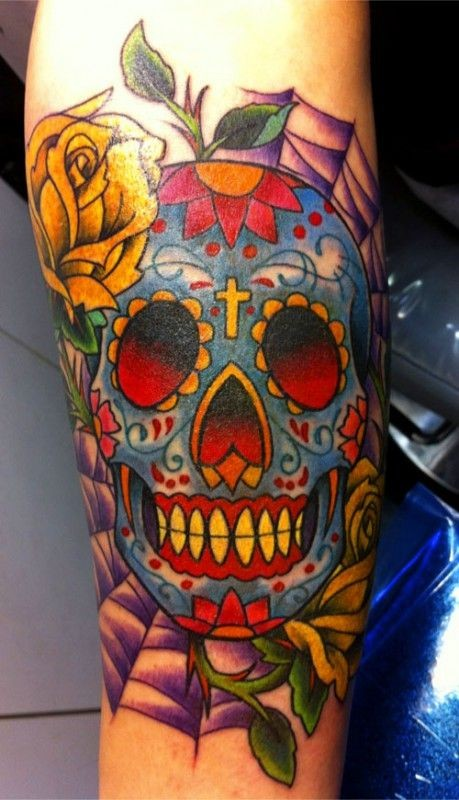 Sugar skull with yellow rose tattoo - Tattooimages.biz