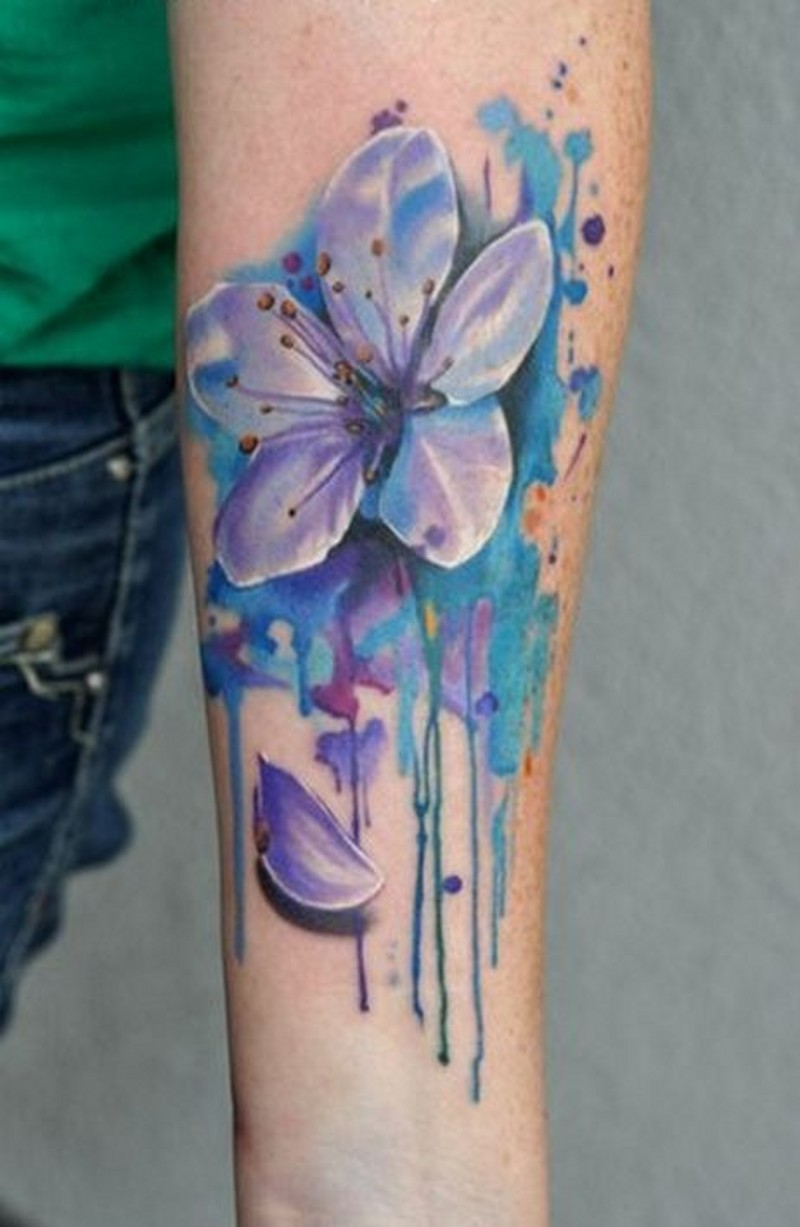 Super 3D realistic colorful flower tattoo on arm in watercolor style with paint drips