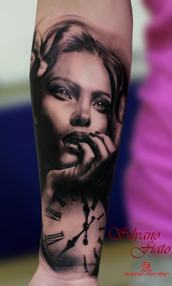Super 3D realistic lifelike lady&quots portrait and clock forearm tattoo in realism style