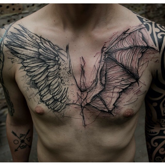 Super black ink sketch style chest tattoo of angel and demon wings