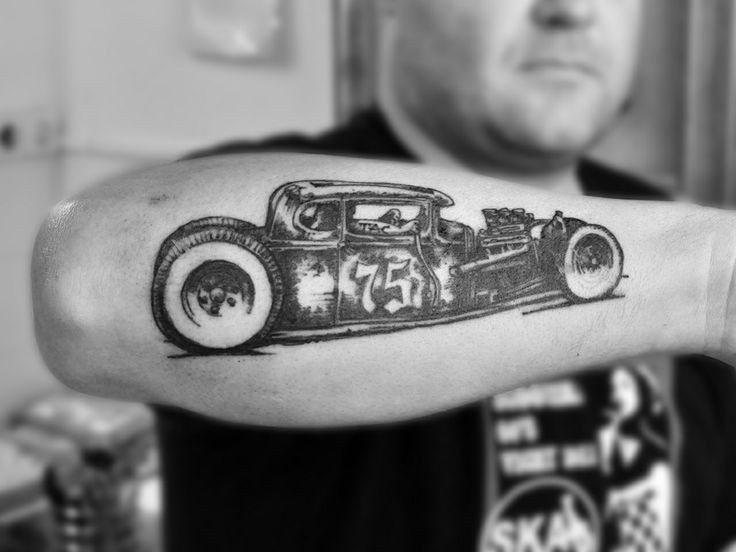 Super detailed retro car forearm tattoo