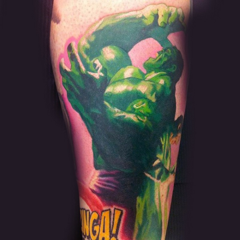 Super looking colored leg tattoo of furious Hulk with lettering