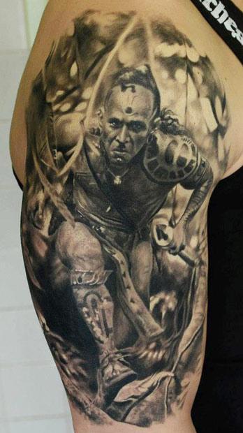 Super realistic American Indian tattoo on half sleeve area