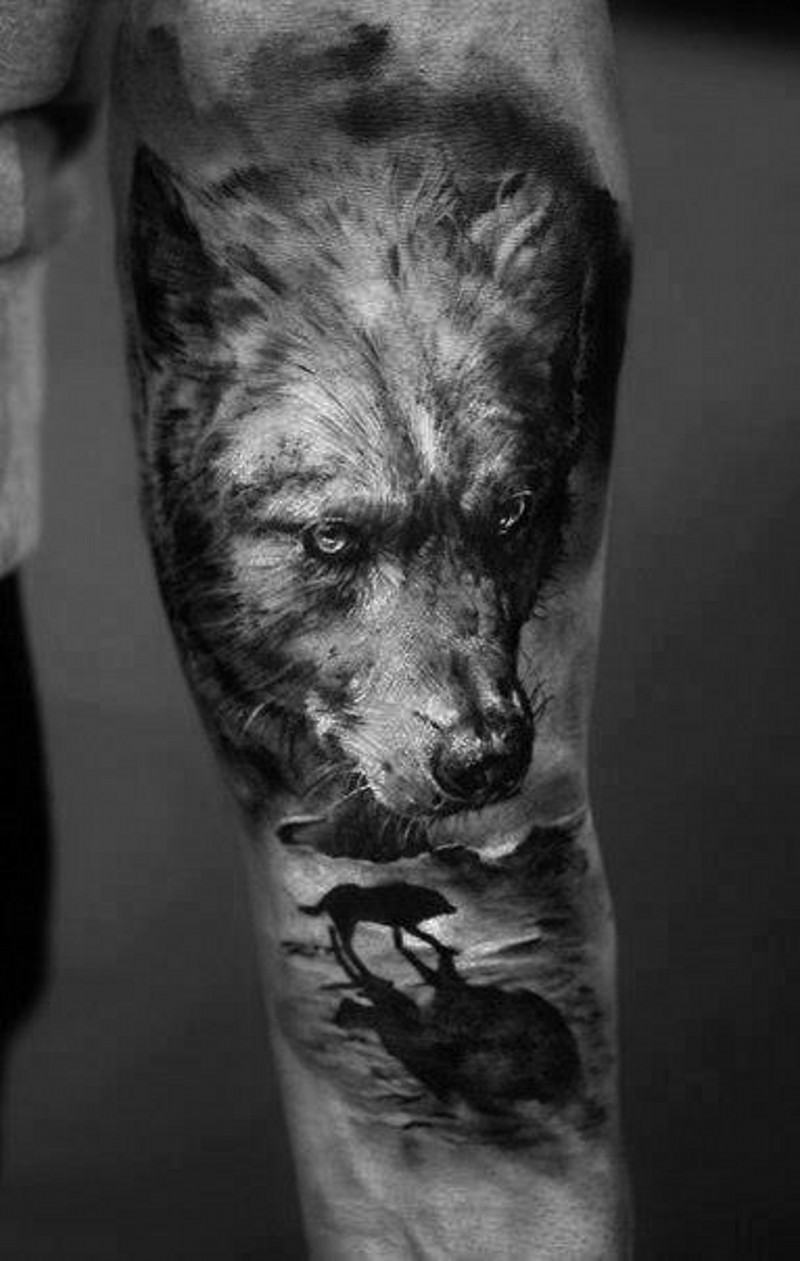 Indian with eagle and wolf tattoo on shoulder tattooimages biz - Super Realistic Dark Wolf With Silhouette Of A Wolf Forearm Tattoo