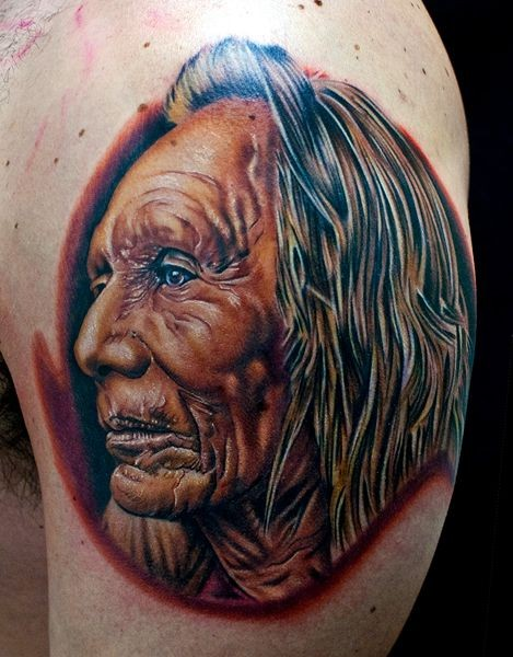 Super realistic portrait of an old indian tattoo by Cecil Porter