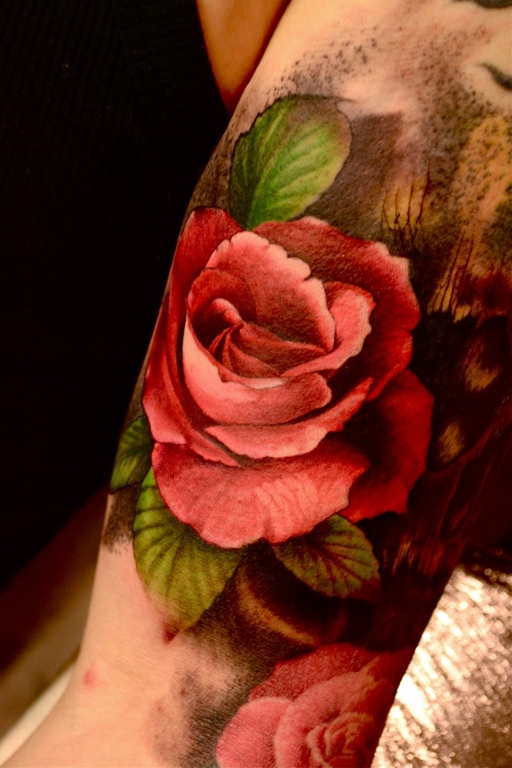 Black And Red Rose Tattoo Shoulder