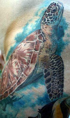 Sehr realistische Aquarell Meeresschildkröte Tattoo