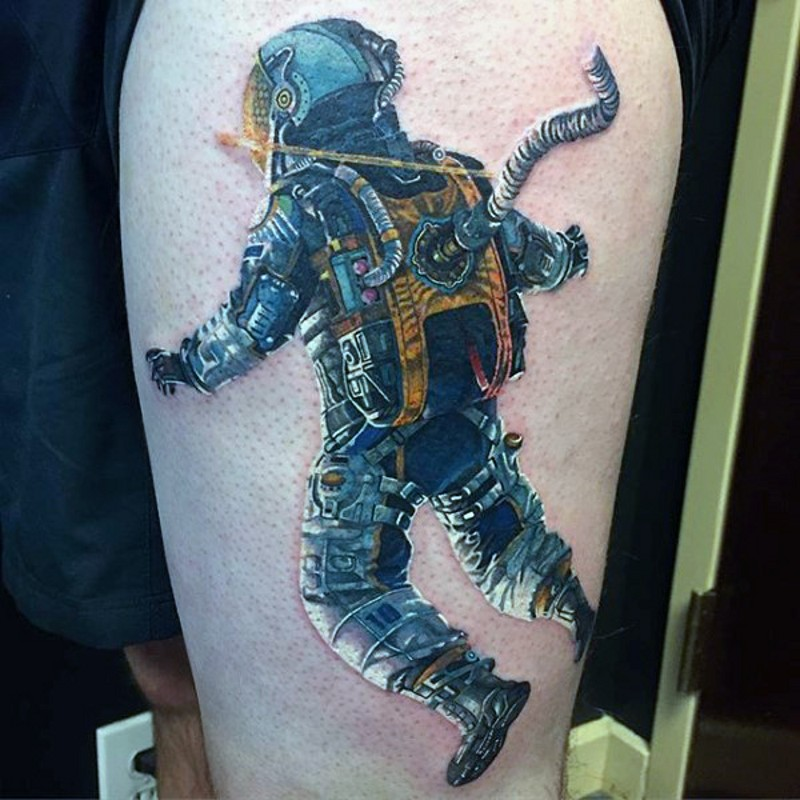 Superior 3D realistic colorful astronaut tattoo on thigh