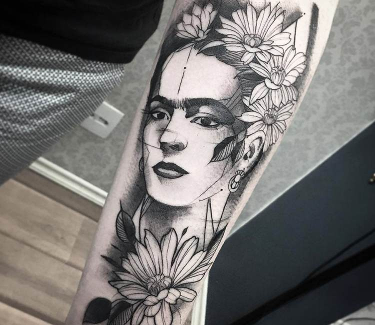 Superior black and white forearm tattoo of woman portrait with flowers