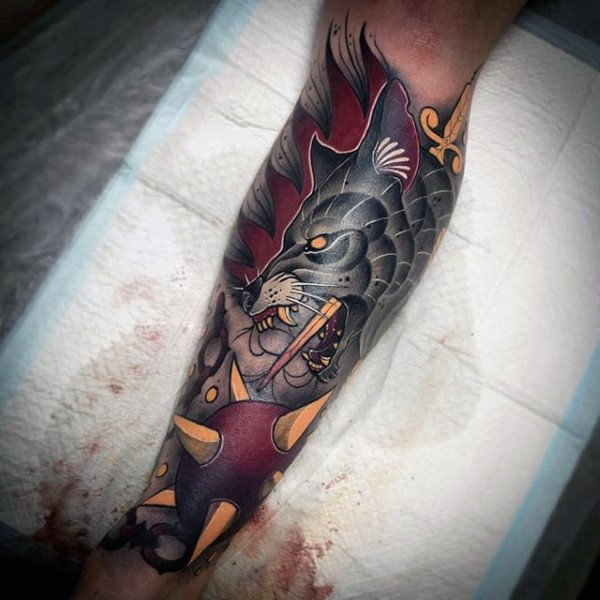 Superior colored and detailed illustrative style leg tattoo of demonic dog and sword