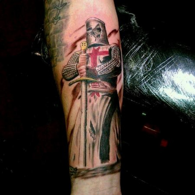 Superior Colored Forearm Tattoo Of Medieval English Knight