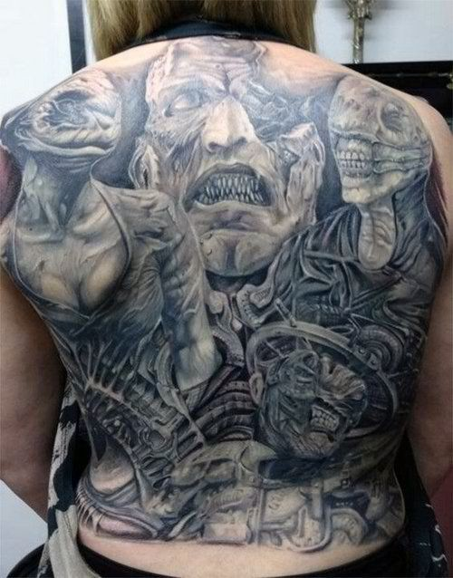 Superior detailed black and white horrifying monsters tattoo on whole back