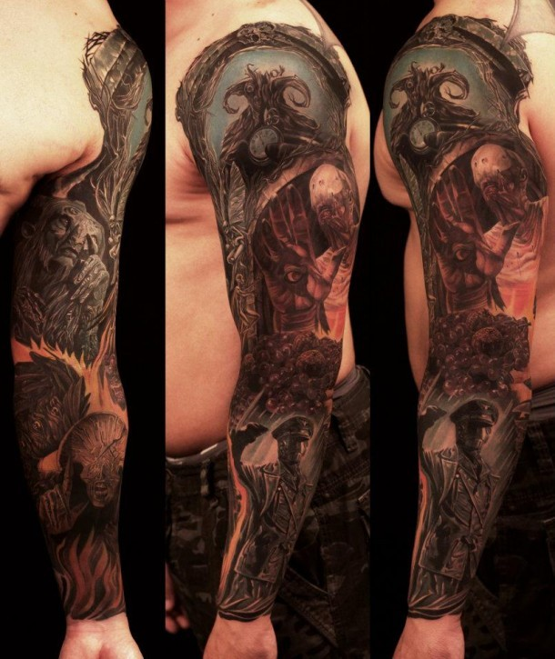 Superior detailed colorful various monsters tattoo on sleeve