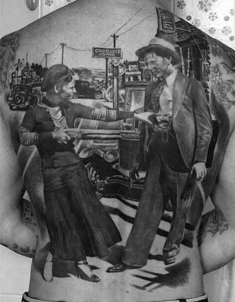Superior detailed natural looking vintage city with gangster woman tattoo on whole back