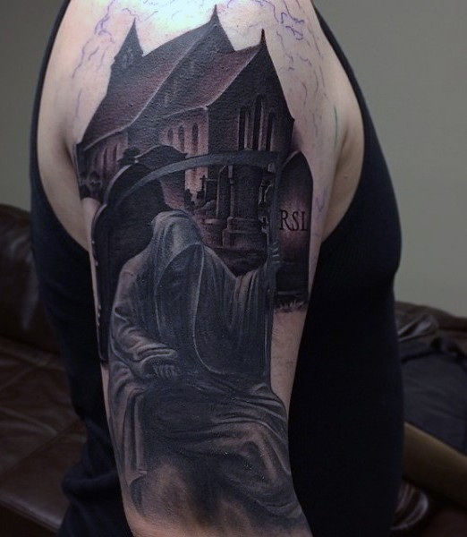 Superior looking colored shoulder tattoo of dark house with cemetery and Death statue