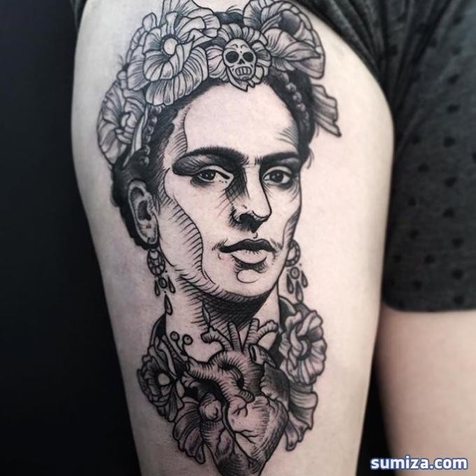 Superior looking engraving style thigh tattoo of woman portrait with human heart