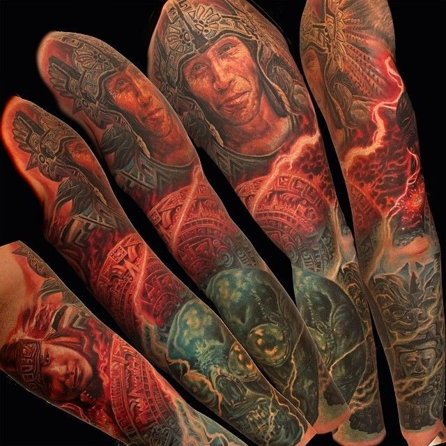 Superior Mayan themed colored sleeve tattoo of various statues and tablets