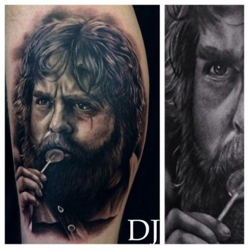 Superior natural looking black ink famous Hollywood actor portrait tattoo