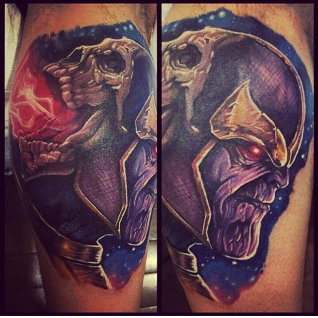 Superior painted and colored leg tattoo of Marvel villain