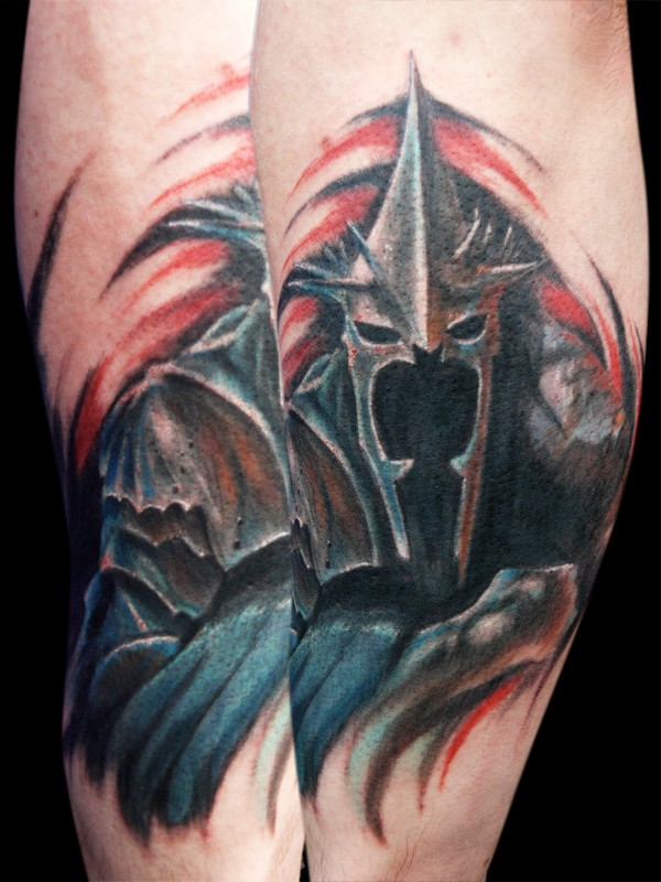 Superior painted and colored Lord of the Rings demonic rider tattoo