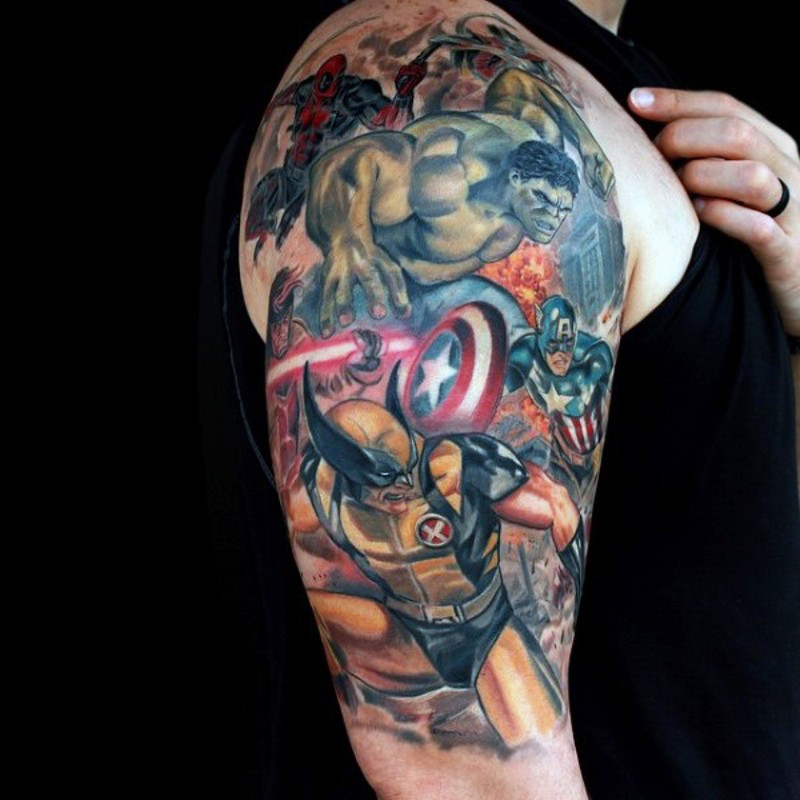 Superior painted detailed looking various Marvel superheroes tattoo on shoulder