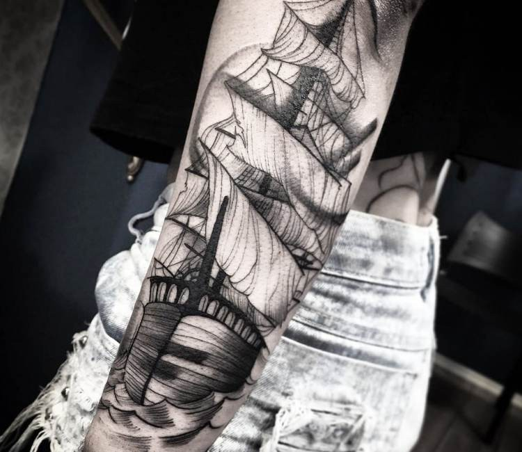Superior painted linework style black ink forearm tattoo of sailing ship