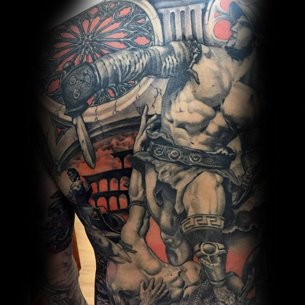 Superior painted various medieval times themed tattoo on thigh