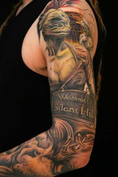 Superior very detailed and colored Silent Hill themed tattoo on sleeve with lettering