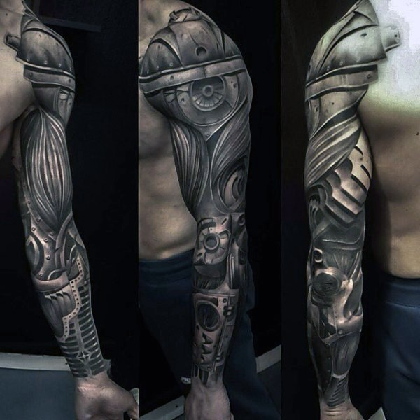 Superior very detailed biomechanical arm tattoo of whole sleeve