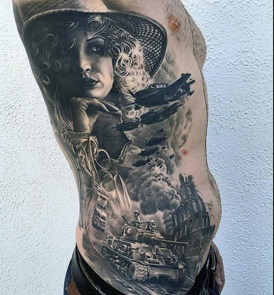 Superior very realistic detailed black and white military tattoo with woman on side