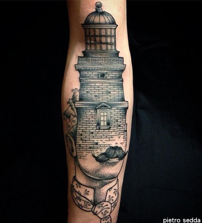 Surrealism style black ink arm tattoo of human face with lighthouse