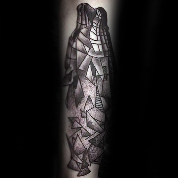 Surrealism style black ink arm tattoo of stone wolf head
