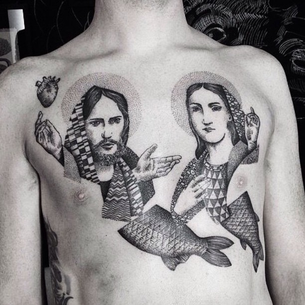 Surrealism style black ink chest tattoo of saint people portrait with fish