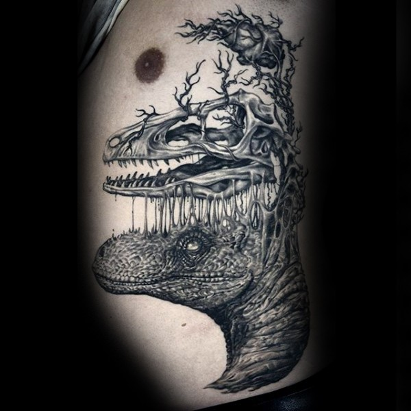 Surrealism style black ink dinosaur with skull and heart