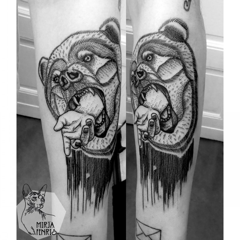 Surrealism style black ink leg tattoo of bear with human arm