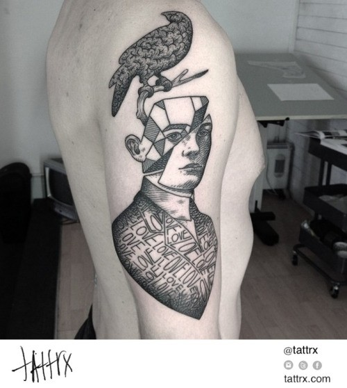 Surrealism style black ink shoulder tattoo of man with bird and lettering