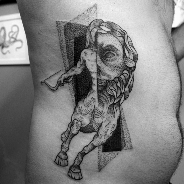 Surrealism style black ink side tattoo of big statue with geometrical ornaments