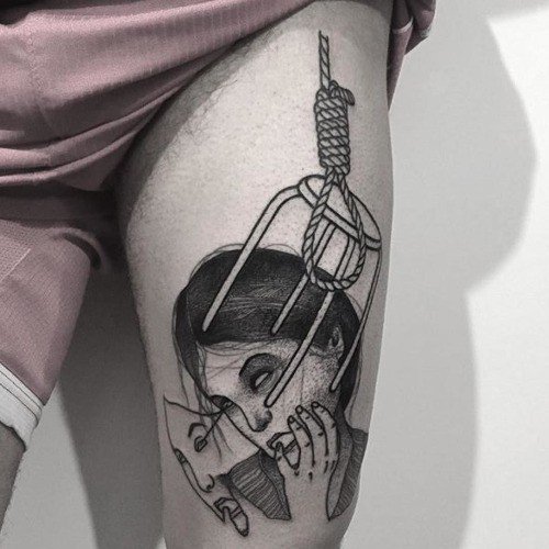 Surrealism style black ink thigh tattoo of woman with chair loop