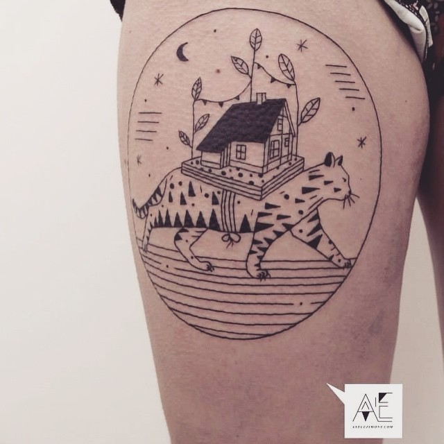 Surrealism style black ink thigh tattoo of cat with big house