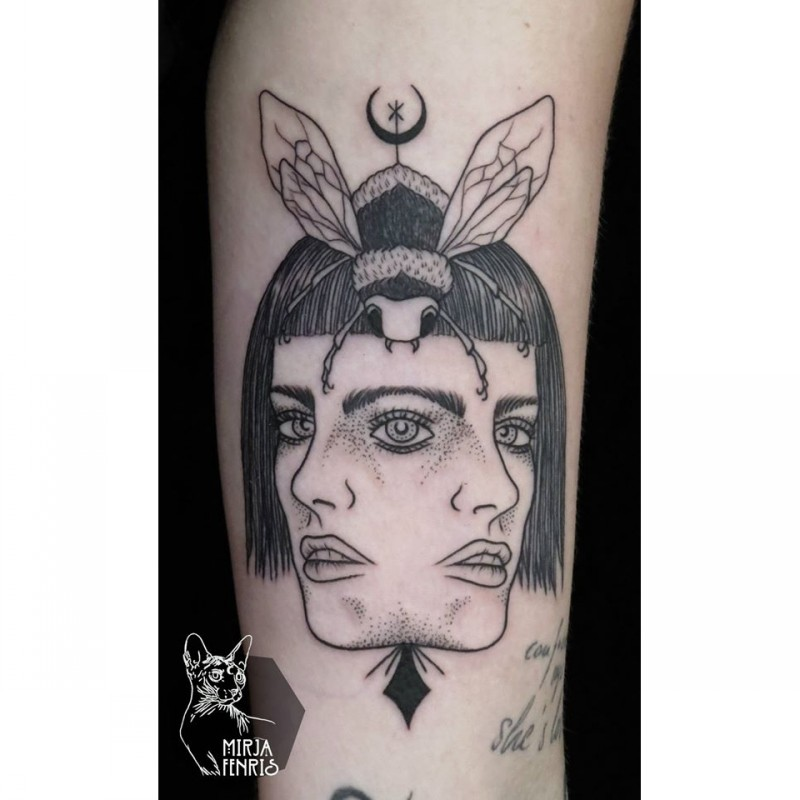 Surrealism style black ink woman face with insect
