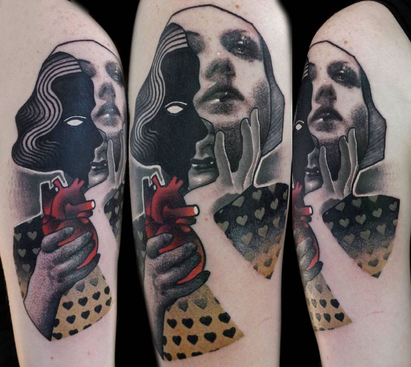 Surrealism style colored arm tattoo of woman face with hearts