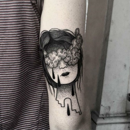 Surrealism style colored arm tattoo of woman face with clouds