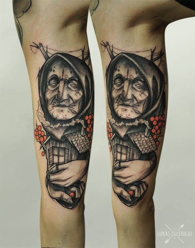 Surrealism style colored arm tattoo of little old woman with house and flowers
